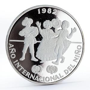 Panama 10 balboas International Year of the child proof silver coin 1982
