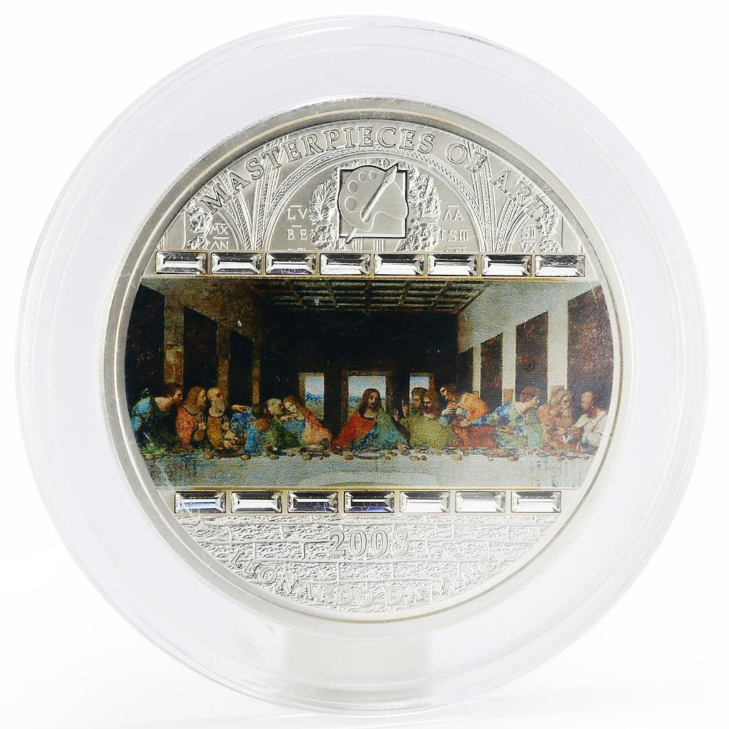 Cook Islands 20 dollars The Last Supper colored silver coin 2008