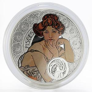 Niue 1 dollar Zodiac Pisces Alphonse Mucha silver colored proof coin 2011