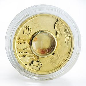 Cook Islands 1 dollar Gemstone Zodiac Signs Virgo silver gilded proof 2003