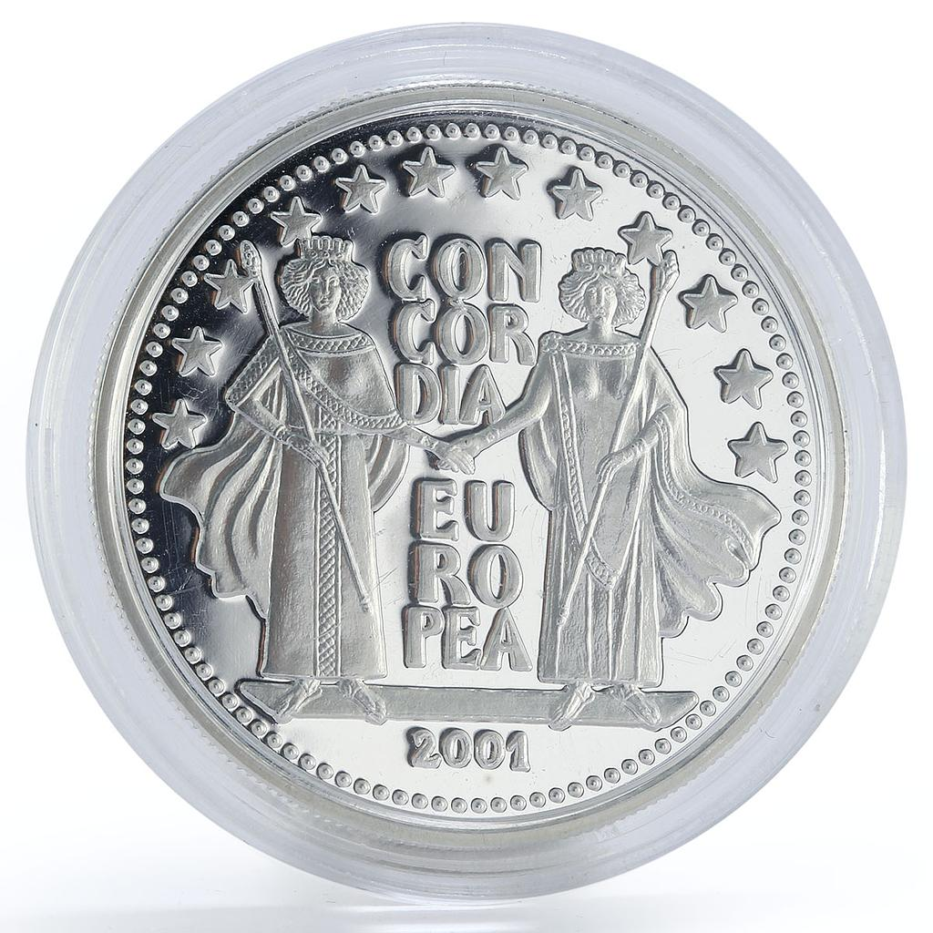 Andorra 10 diners Concordia Europea Two crowned women proof silver coin 2001
