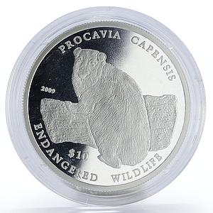Namibia 10 dollars Procavia Capensis proof silver coin 2009