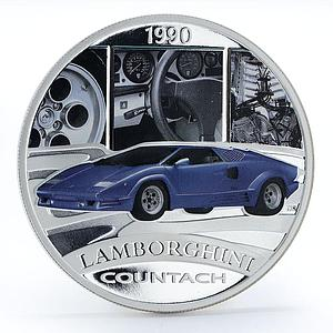 Tuvalu 1 dollar Lamborghini Countach colored silver proof coin 2006