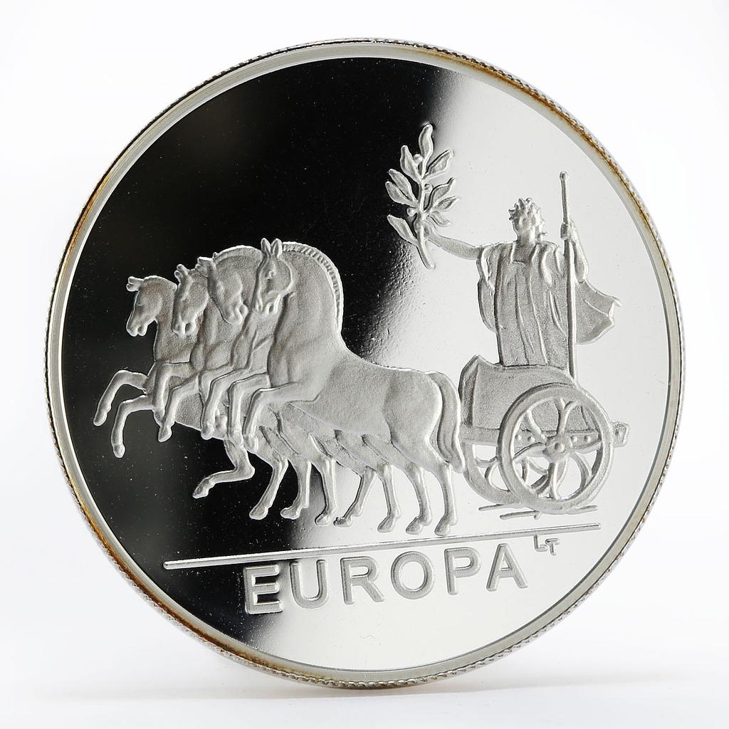 Andorra 10 diners Europa in chariot proof silver coin 2001