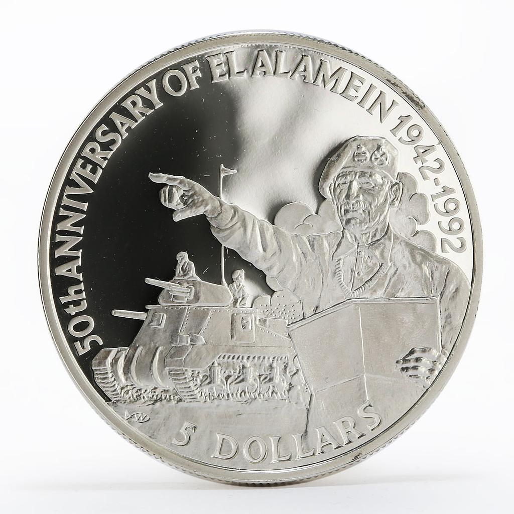 Belize 5 dollars 50th Anniversary of El Alamein Montgomery proof silver 1992