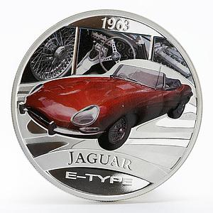 Tuvalu 1 dollar Jaguar E-Type colored silver proof coin 2006