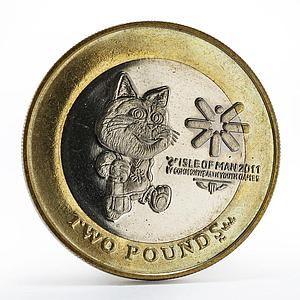 Isle of Man 2 pounds IV Commonwealth Youth Games coin Tosha cat 2011