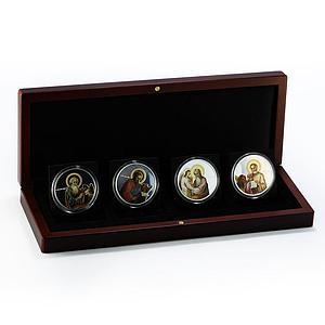 Niue set of 4 coins The Evangelists colored silver proof 2011