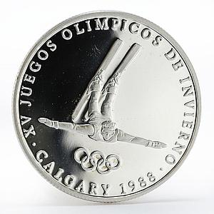 Panama 1 balboa Olympic Winter Games Calgary Free-style skier proof silver 1988