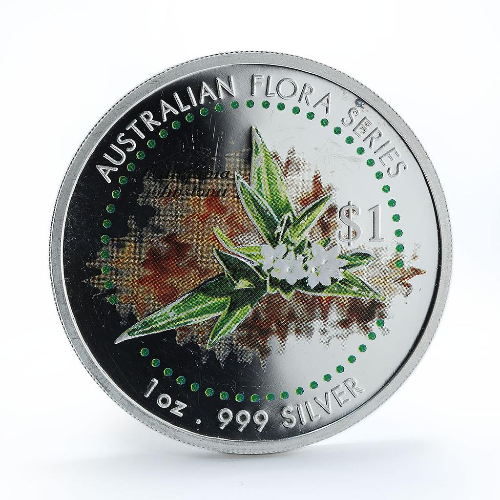 Cook Islands 1 dollar Milligania Johnstonii Australian flora 1oz silver 1999