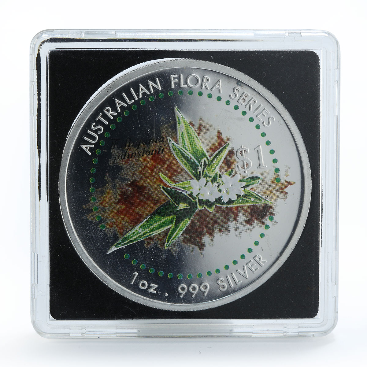 Cook Islands 1 dollar Tilligania johnstoni Australian flora 1oz silver coin 1999