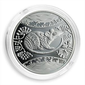 Ukraine 5 hryvnas The Year of Rat Oriental Calendar Silver Proof Coin 2008