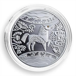 Ukraine 5 hryvnas Oriental calendar Year of the Horse zirconia silver proof 2014