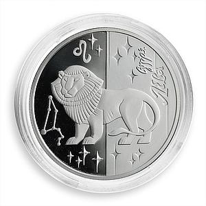 Ukraine 5 hryvnas Signs of the Zodiac Leo Silver Proof Coin 2008
