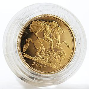 Britain Gold Proof Sovereign George slaying dragon gold coin 2007 Boxed