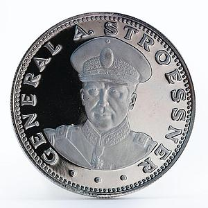 Paraguay 150 guaranies General Alfredo Stroessner silver coin 1972