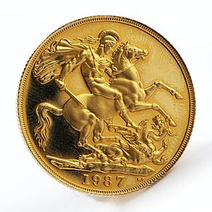Britain 2 Pounds Sovereign George slaying dragon Proof gold coin 1987 Boxed