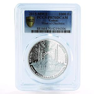 Gabon 1000 francs Mosque Heart of Chechnya Kadyrov proof silver coin 2015