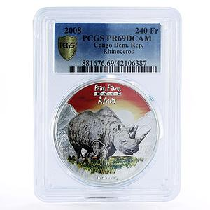 Congo 240 francs Big Five Africa Rhinoceros colored silver coin 2008