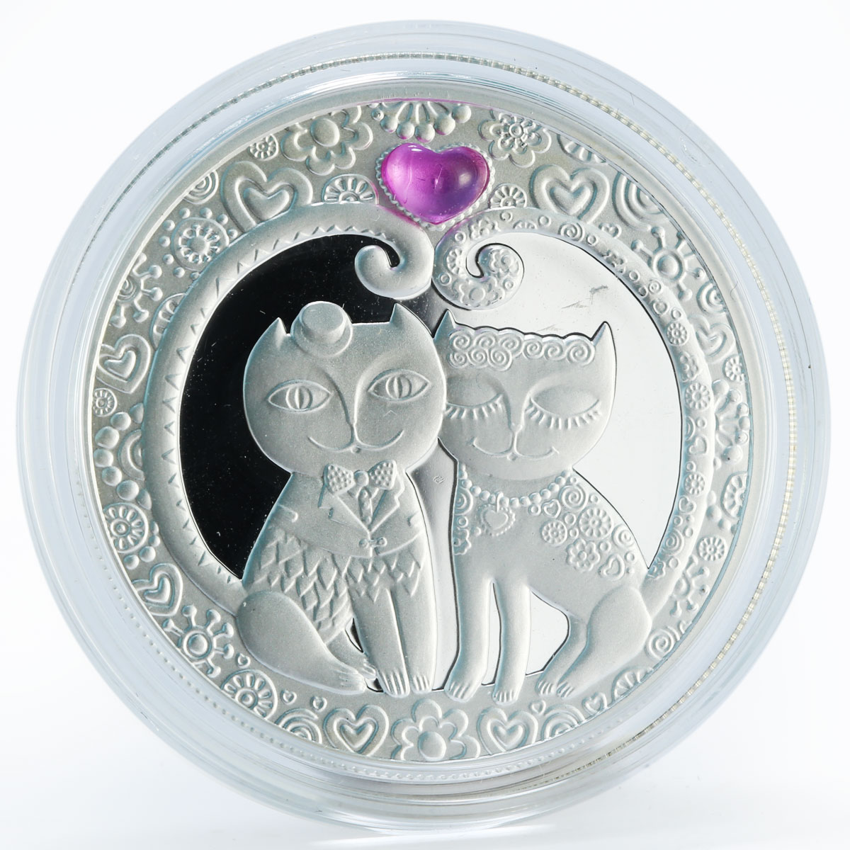 Belarus 20 rubles My Love Cats corundum silver coin 2011