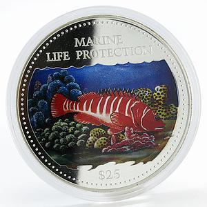 Cook Islands 25 dollars Marine Life Multicolor Fish colored proof silver 2000