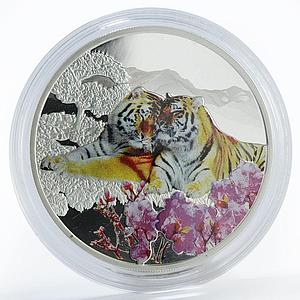 Laos 50000 kip Amur tiger colored proof silver coin 2017