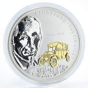 Cook Islands 10 dollars Henry Ford The Tin Lizzy car gilded silver coin 2008