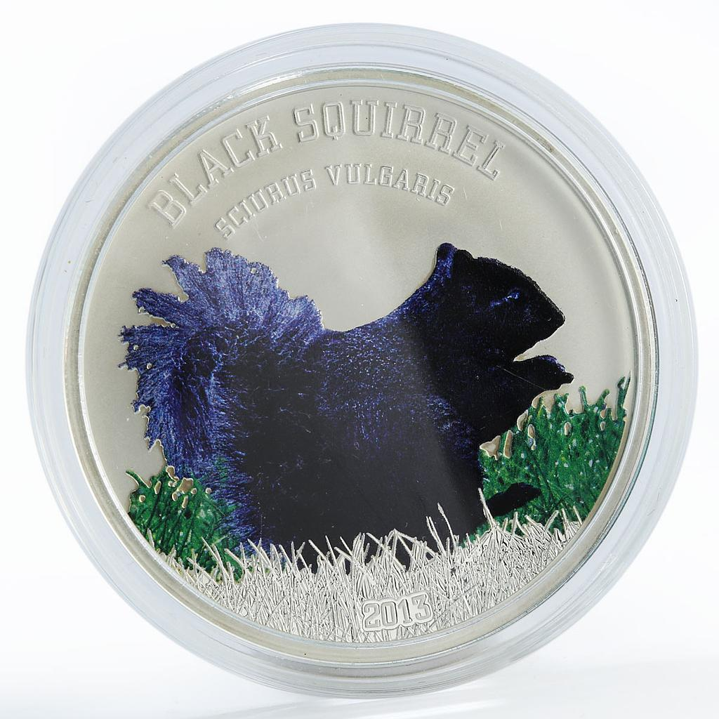 Cook Island 5 dollars Black Squirrel colored proof silver coin 2013