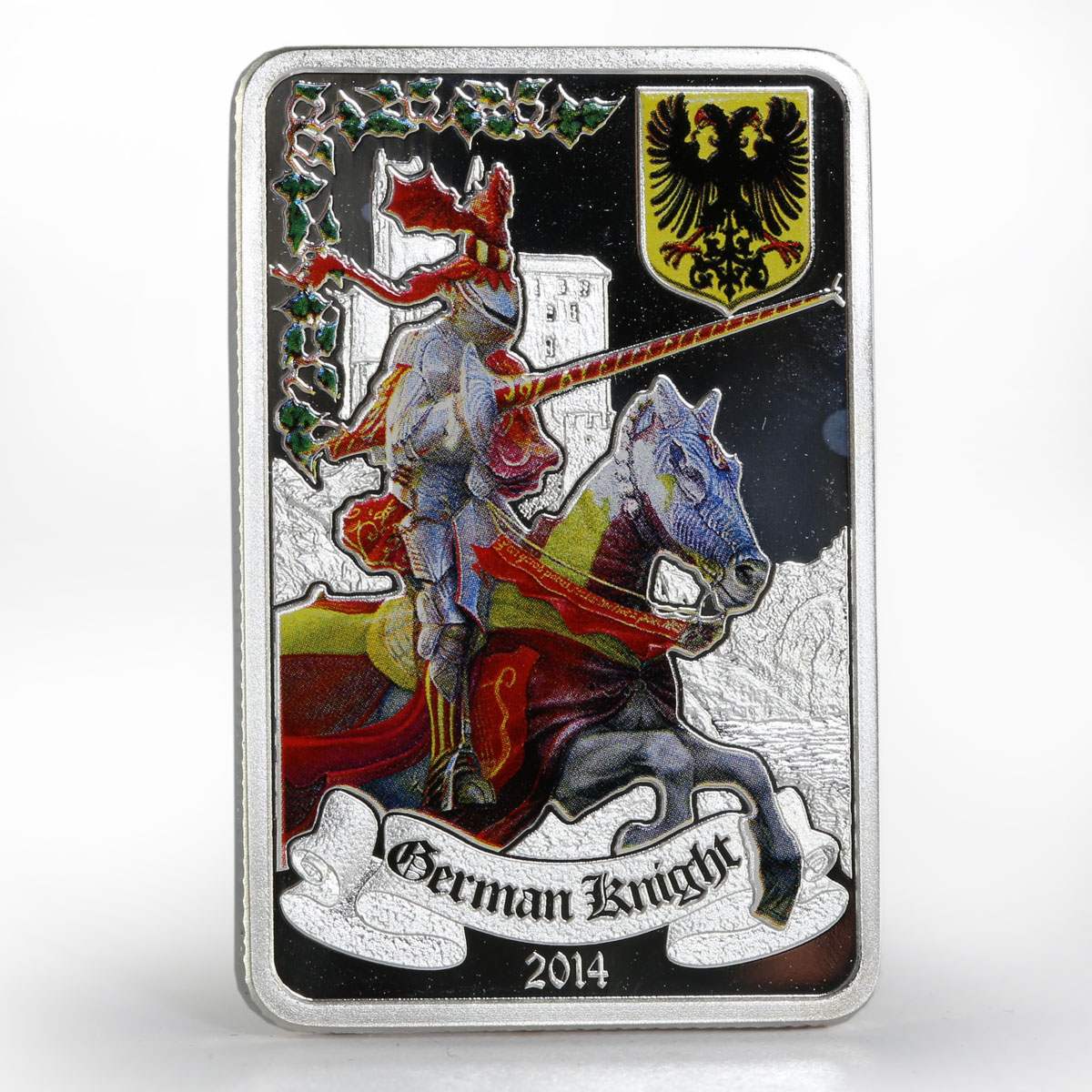 Benin 1000 francs German Knight colored proof silver coin 2014