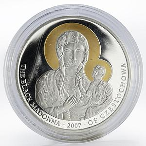 Liberia 10 dollars The Black Madonna Czestochowa gilded proof silver coin 2007