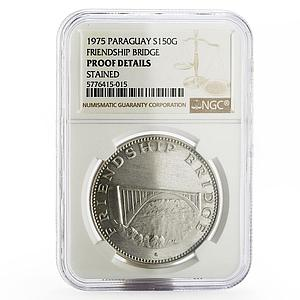Paraguay 150 guaranies Friendship Bridge NGC silver coin 1975