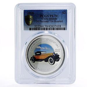 Cook Island 2 Dollars Packard 734 BOATTAIL Classic Speedsters Silver coin 2006