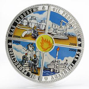 Cook Islands set 4 coin Gas Industry Oil Production colored silver 2006
