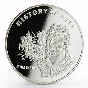 Mongolia 1000 togrog History of Asia Attila the Hun proof silver coin 2003