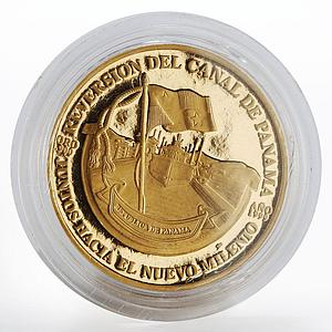 Panama 100 balboas Mireya Moscoso Ship in Canal Transfer proof gold coin 1999