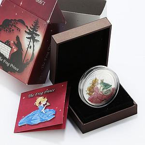 Benin 1000 francs The Frog Prince fairy tale princess colored proof silver 2014