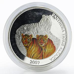 Mongolia 500 togrog Panthera Tigris Altaica colored proof silver coin 2007