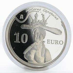 Spain 10 euro Salvador Dali Bust of a Woman painter proof silver coin 2009
