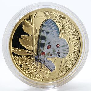 Niue 5 dollars Parnassius Apollo Butterfly coloured proof gold coin 2011