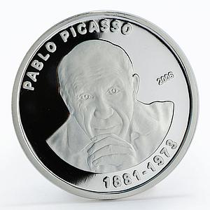 Ivory Coast 1000 francs Pablo Picasso painter sculptor proof silver coin 2006