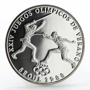 Panama 1 balboa Olympic Summer Games Fencing proof silver coin 1988