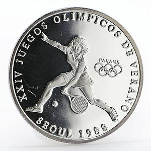Panama 1 balboa Olympic Summer Games Tennis proof silver coin 1988