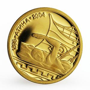 Bulgaria 5 leva Olympic Games Swimming Athens sport proof gold coin 2002