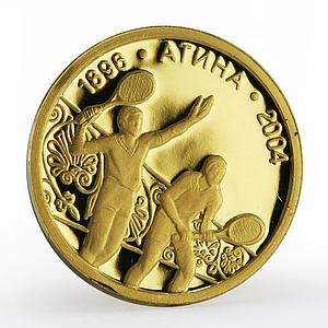 Bulgaria 5 leva Olympic Games Tennis Athens sport proof gold coin 2002