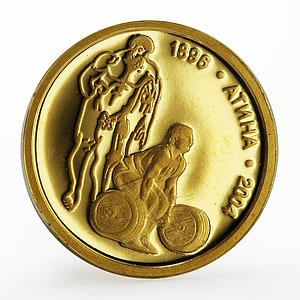 Bulgaria 5 leva Olympic Games Weightlifting Athens sport proof gold coin 2002