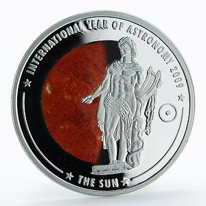 Cook Islands 5 dollars Astronomy The Sun colored proof silver coin 2009