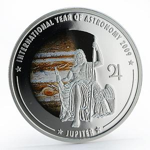 Cook Islands 5 dollars Astronomy Jupiter colored proof silver coin 2009