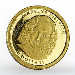 Liberia 10 dollars Marlene Dietrich proof gold coin 2001