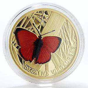Niue 5 dollars Lycaena Virgaureae Butterfly colour gold coin 2010 Box and CoA