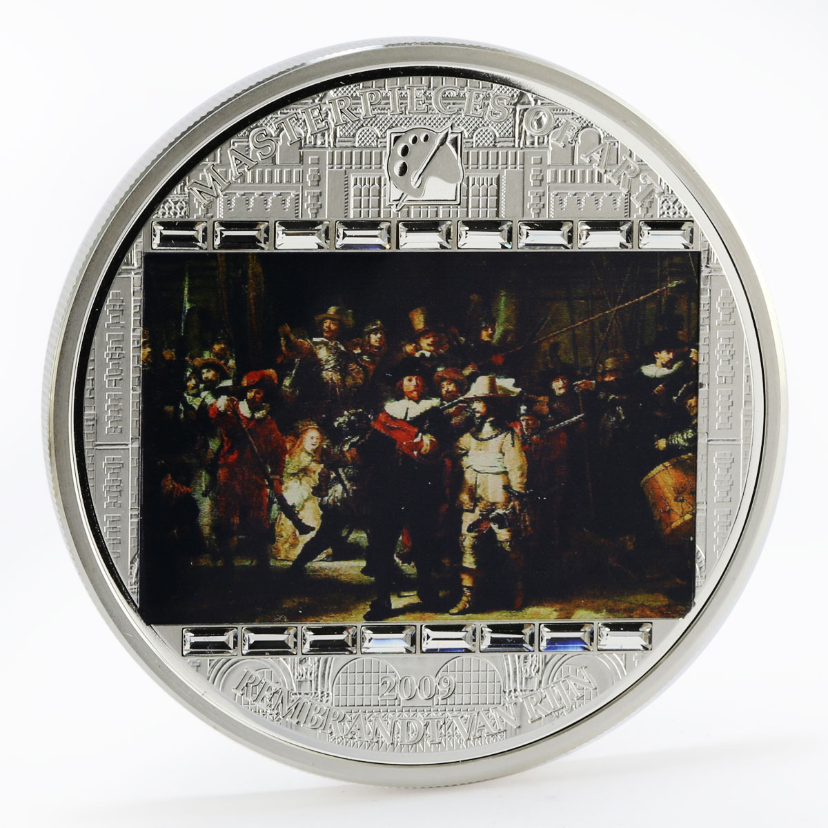 Cook Islands 20 dollars Rembrandt Art Nightwatch swarowski colored silver 2009